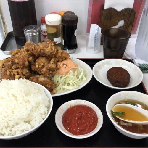 デカ盛り唐揚定食!宜野湾市の「悠楽」